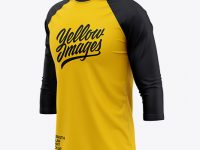 Men's Raglan 3/4 Length Sleeve T-Shirt Mockup - Front Half Side View