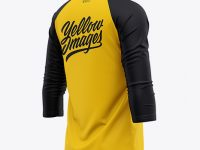 Men's Raglan 3/4 Length Sleeve T-Shirt Mockup - Back Half Side View