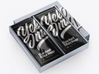 Metallic Box with Sachets Mockup