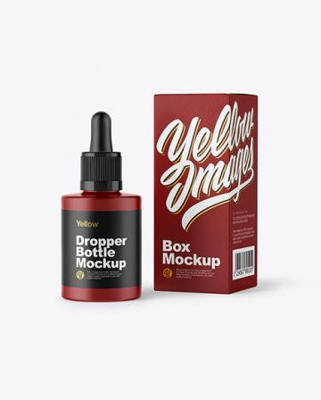 Matte Dropper Bottle w/ Box Mockup