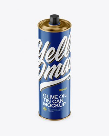 1L Matte Olive Oil Tin Can Mockup