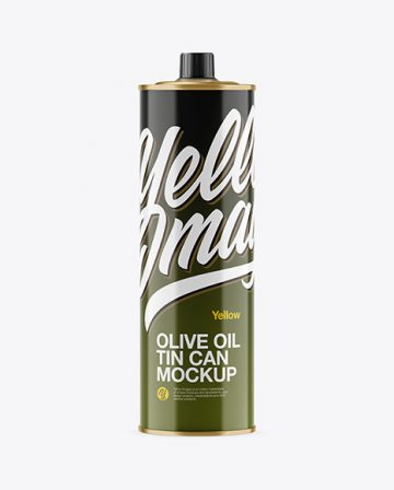 1L Glossy Olive Oil Tin Can Mockup