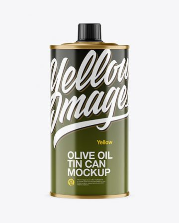 0.5L Glossy Olive Oil Tin Can Mockup