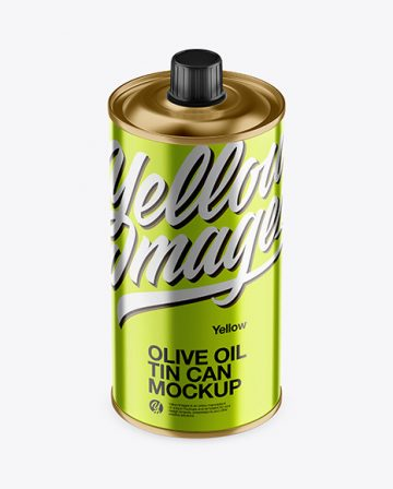 0.5L Metallic Olive Oil Tin Can Mockup