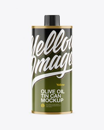 250ml Glossy Olive Oil Tin Can Mockup