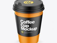 Coffee Cup with Paper Sleeve Mockup