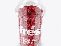 Plastic Cup With Raspberries Mockup