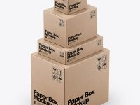 Four Kraft Boxes Mockup