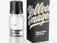 Frosted Glass Dropper Bottle with Box Mockup