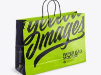Glossy Shopping Bag with Rope Handle Mockup - Halfside View (High-Angle Shot)