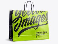Glossy Shopping Bag with Rope Handle Mockup - Halfside View
