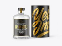 Dry Gin Bottle w/ Paper Tube Mockup