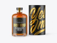 Whiskey Bottle w/ Paper Tube Mockup