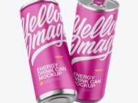 Two Metallic Cans W/ Matte Finish Mockup