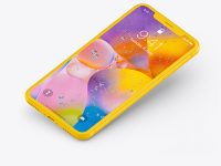 iPhone XR Clay Isometric Floating Left Mockup