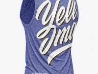 Melange Men's Loose Fit Sleeveless Shirt Mockup