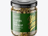 Clear Glass Jar with Capers Mockup