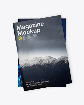 Two Textured A4 Magazines Mockup
