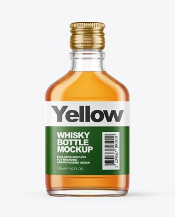 Clear Glass Bottle with Whisky Mockup
