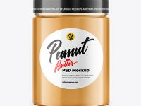 Jar with Peanut Butter Mockup