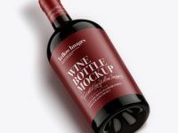 Antique Green Glass Bottle With Red Wine Mockup
