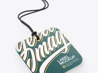 Square Label With Rope Mockup - Half Side View
