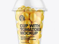 Plastic Cup with Yellow Tomatoes Mockup