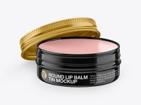 Opened Glossy Lip Balm Tin Mockup