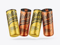 Four Matte Metallic Cans Mockup