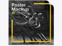 Crumpled Square Poster Mockup