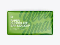 Paper Glossy Chocolate Bar Mockup - Top View