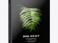 Book w/ Glossy Cover Mockup - Half Side View