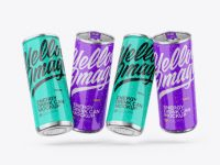 Four Metallic Cans W/ Glossy Finish Mockup