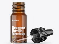 Opened Amber Dropper Bottle Mockup