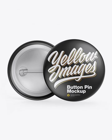 Two Glossy Button Pins Mockup