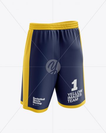 Men's Basketball Shorts mockup (Back Half Side View)