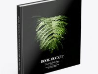 Book w/ Glossy Cover Mockup - High Angle View