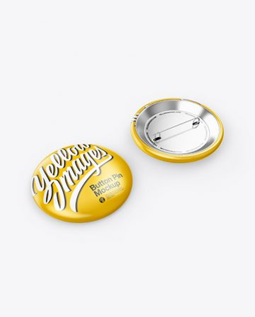 Two Circle Button Pins Mockup