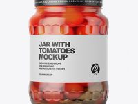 Clear Glass Jar with Tomatoes Mockup
