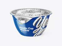 Glossy Plastic Cup with Foil Lid Mockup