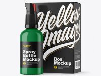Glossy Spray Bottle with Box Mockup