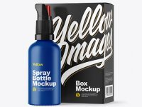 Matte Spray Bottle with Box Mockup