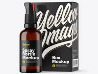 Amber Spray Bottle with Box Mockup