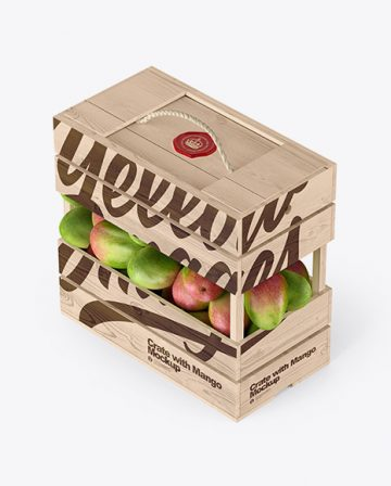 Wooden Crate with Mangos Mockup - Half Side View