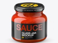 Glass Red Hot Sauce Jar in Shrink Sleeve Mockup