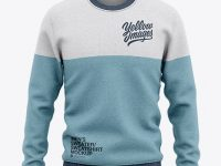 Men's Heather Crew Neck Sweatshirt/Sweater Mockup - Front View