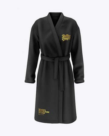 Women's Waffle Robe Mockup - Front View