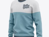 Men's Heather Crew Neck Sweatshirt/Sweater Mockup - Front Half Side View