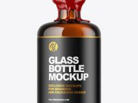 Amber Glass Bottle with Wax Mockup