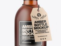 Frosted Amber Bottle Mockup